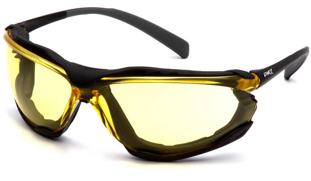 Pyramex Proximity Safety Glasses with Black Frame and Amber Lens