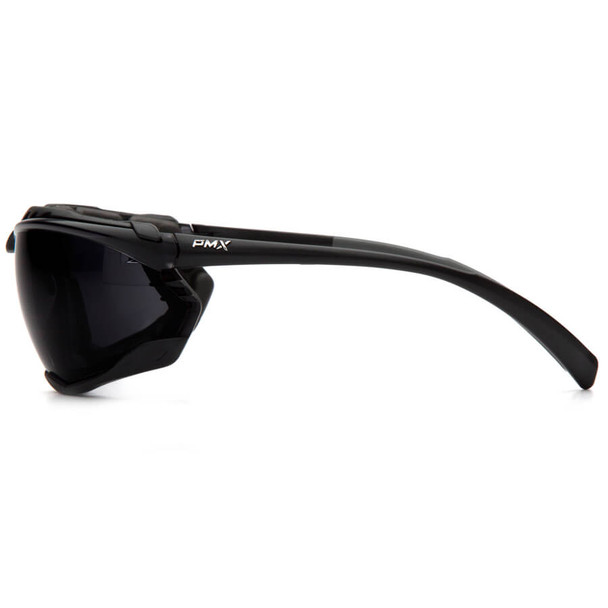 Pyramex Proximity Safety Glasses with Black Frame and Dark Gray Lens - Side