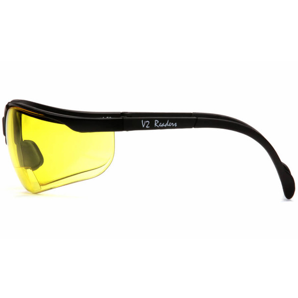Pyramex Venture II Bifocal Safety Glasses with Black Frame and Amber Lens - Side