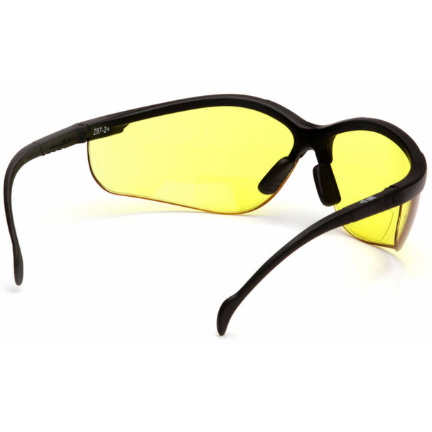 Pyramex Venture II Bifocal Safety Glasses with Black Frame and Amber Lens - Back