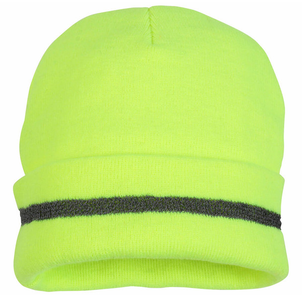Pyramex Lumen-X Hi-Viz Yellow Knit Cap with Reflective Stripe