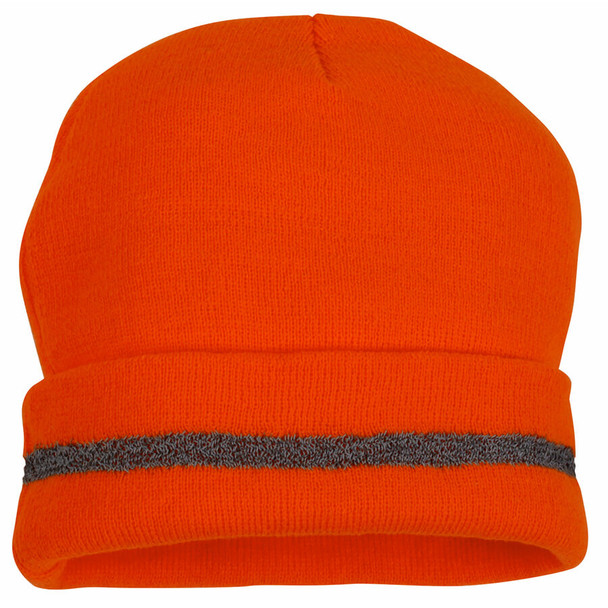 Pyramex Lumen-X Hi-Viz Orange Knit Cap with Reflective Stripe