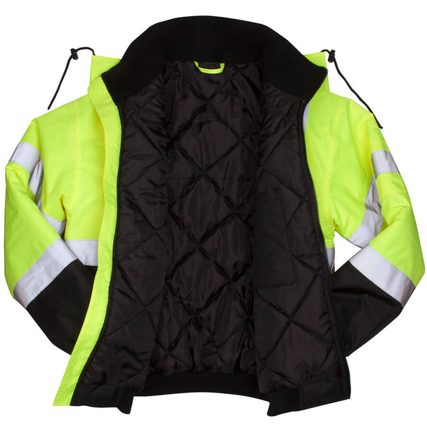 Pyramex Lumen-X RJ32 Class 3 Hi-Viz Lime Safety Jacket with Quilted Liner - Open