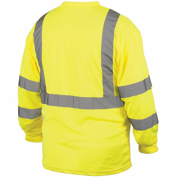 Pyramex RLTS31 Type R Class 3 Long Sleeve Safety T-Shirt Hi-Vis Lime - Back