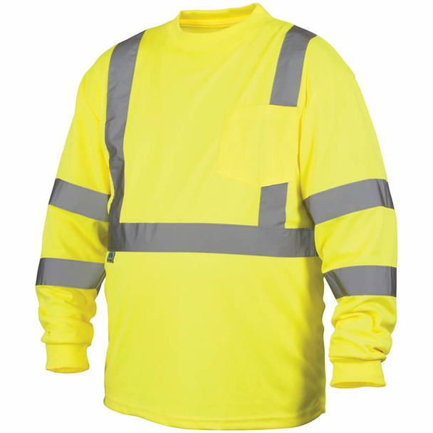 Pyramex RLTS31 Type R Class 3 Long Sleeve Safety T-Shirt Hi-Vis Lime