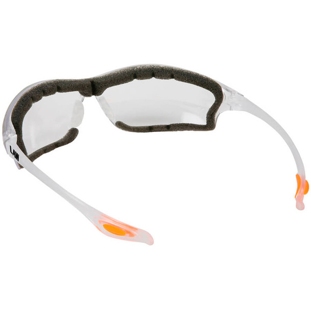 Crews Law 3 Safety Glasses with Clear Anti-Fog Lens and Foam Seal - Back