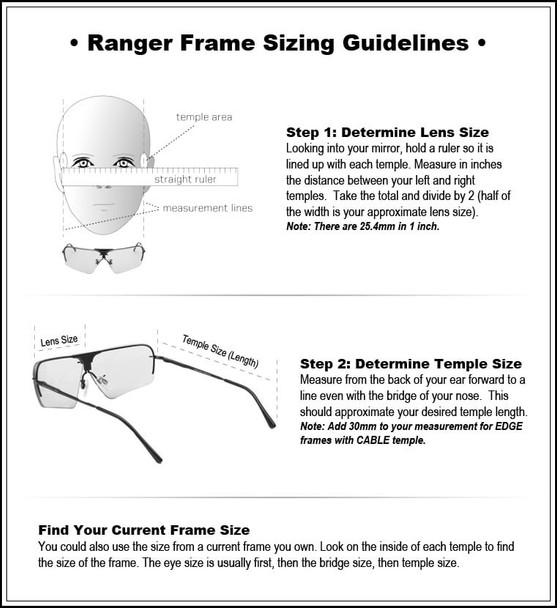 Randolph Edge 2-Lens Premium Clay Kit with HD Medium and Modified Brown Lenses - Frame Sizing Guidelines