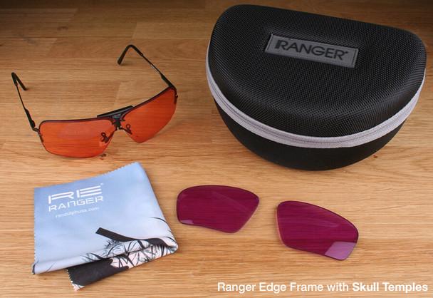 Randolph Edge 2-Lens Clay Kit with HD Medium and Dark Purple Lenses with Skull Temples