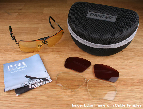 Randolph Edge 3-Lens Premium Hunting Kit with Pale Yellow, Medium Yellow and Mod Brown Lenses with Cable Temples