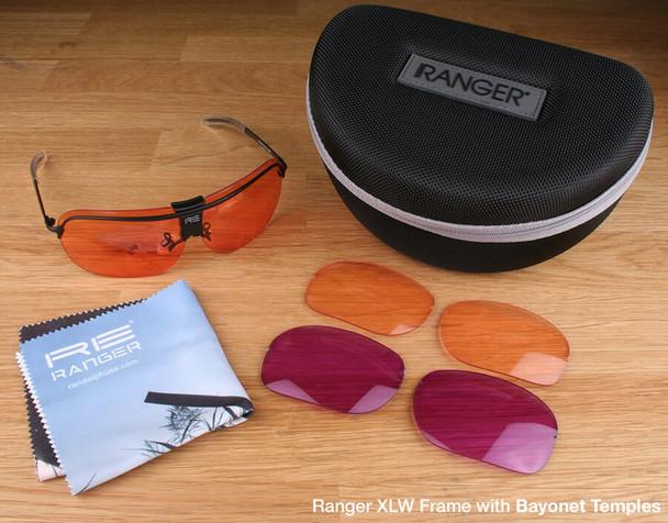 Randolph XLW 3-Lens Clay Kit with HD Light, HD Medium and Dark Purple Lenses with Bayonet Temples