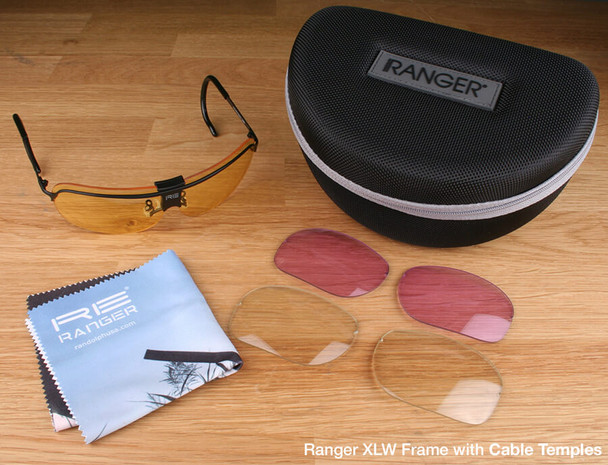 Randolph XLW 3-Lens Rifle & Pistol Kit with Pale Yellow, Medium Yellow and Light Purple Lenses with Cable Temples