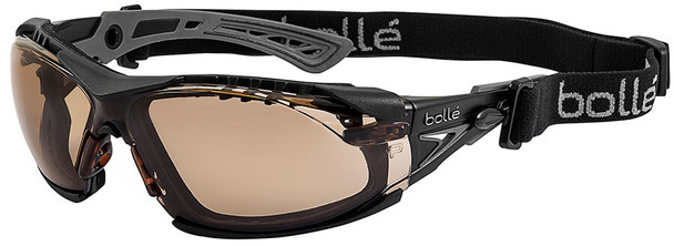 Bolle Rush Plus Safety Glasses with Black/Gray Temples, Foam Gasket and Twilight Platinum Anti-Fog Lens