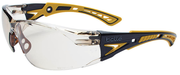 Bolle Rush Plus Safety Glasses with Black/Yellow Temples and CSP Indoor/Outdoor Platinum Anti-Fog Lens