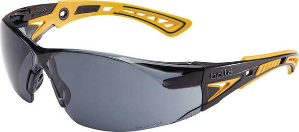 Bolle Rush Plus Safety Glasses with Black/Yellow Temples and Smoke Platinum Anti-Fog Lens