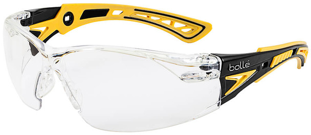 Bolle Rush Plus Small Safety Glasses with Black/Yellow Temples and Clear Platinum Anti-Fog Lens