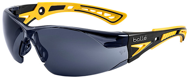 Bolle Rush Plus Small Safety Glasses with Black/Yellow Temples and Smoke Platinum Anti-Fog Lens