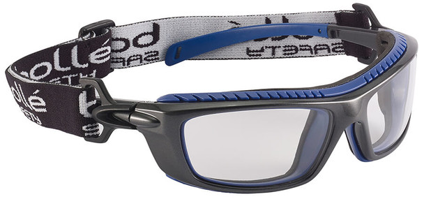 Bolle Baxter Safety Glasses with Black Frame, Strap and Clear Platinum Anti-Fog Lens