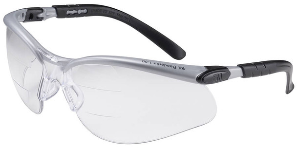 3M BX Dual Reader Safety Glasses with Clear Anti-Fog Lens and Upper/Lower Diopters