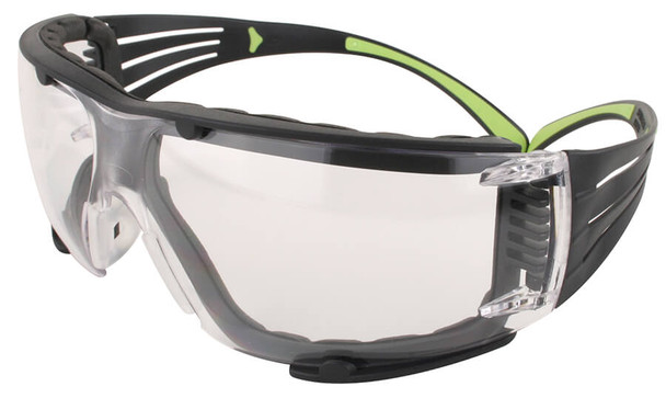 3M SecureFit Safety Glasses with Black/Lime Temples, Foam Padding and Clear Anti-Fog Lens