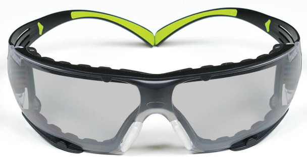 3M SecureFit Safety Glasses with Black/Lime Temples, Foam Padding and Indoor/Outdoor Lens