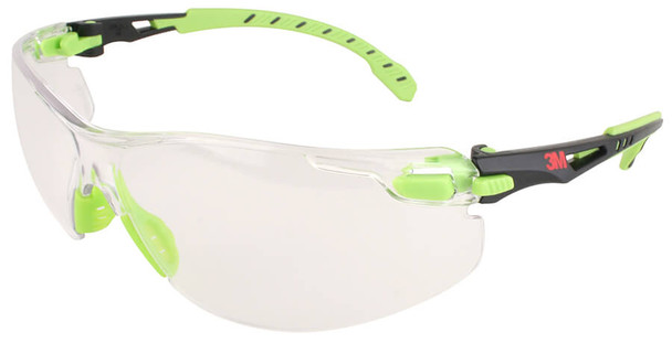 3M Solus Safety Glasses with Green Temples and Clear Anti-Fog Lens