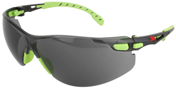 3M Solus Safety Glasses with Green Temples and Gray Anti-Fog Lens S1202SGAF