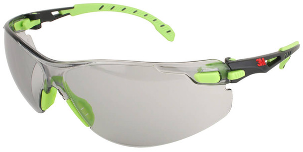 3M Solus Safety Glasses with Green Temples and Indoor/Outdoor Anti-Fog Lens S1207SGAF