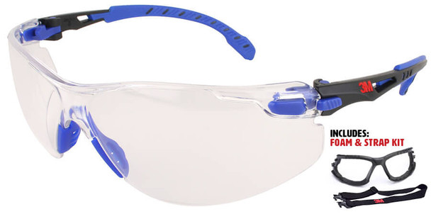 3M Solus Safety Glasses with Blue Temples, Clear Anti-Fog Lens and Foam & Strap Kit S1101SGAF-KT