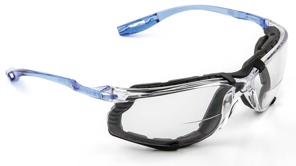 3M Virtua CCS Bifocal Safety Glasses with Blue Temples Foam Gasket and Clear Anti-Fog Lens