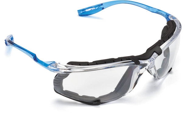 3M Virtua CCS Safety Glasses with Blue Temples Foam Gasket and Clear Anti-Fog Lens