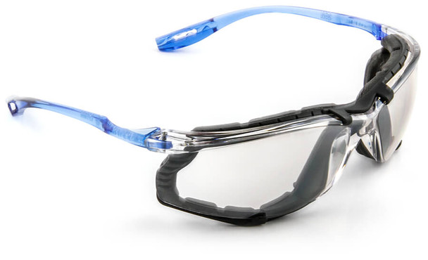3M Virtua CCS Safety Glasses with Blue Temples Foam Gasket and Indoor/Outdoor Anti-Fog Lens