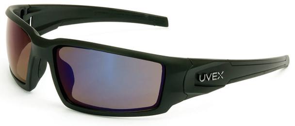 Uvex Hypershock Safety Glasses with Matte Black Frame and Blue Mirror Lens