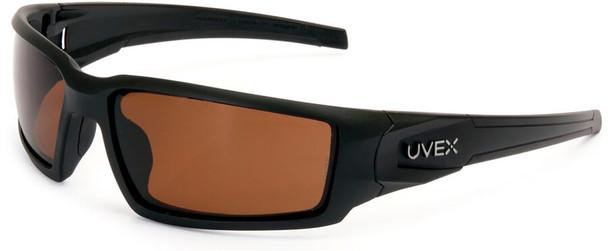 Uvex Hypershock Safety Glasses with Matte Black Frame and Espresso Polarized Lens