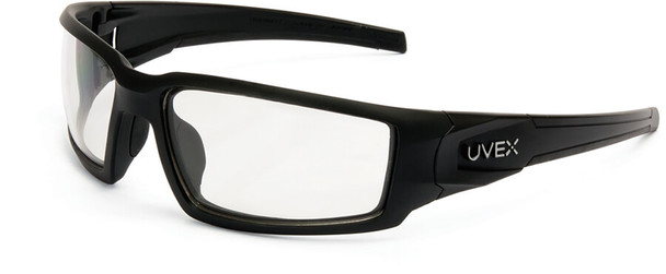 Uvex Hypershock Safety Glasses with Matte Black Frame and Clear Hydroshield Anti-Fog Lens