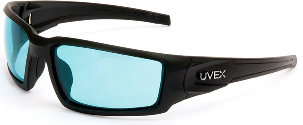 Uvex Hypershock Safety Glasses with Matte Black Frame and SCT Blue Hydroshield Anti-Fog Lens