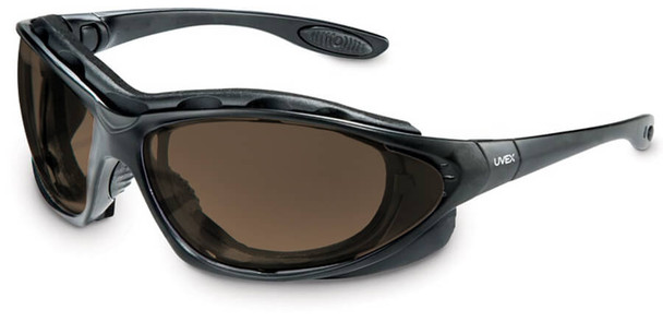Uvex Seismic Safety Glasses/Goggles with Black Frame and Espresso Anti-Fog Lens S0601X