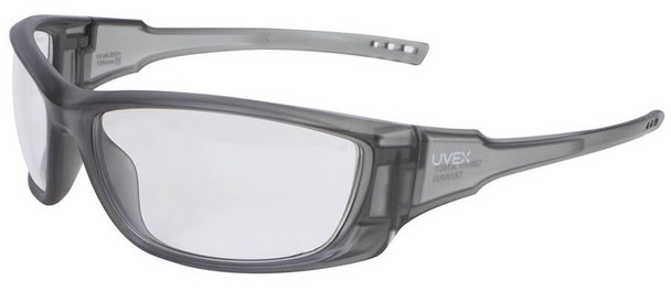 Uvex A1500 Safety Glasses with Matte Gray Frame and Clear Anti-Fog Lens
