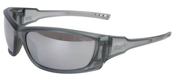Uvex A1500 Safety Glasses with Matte Gray Frame and Silver Mirror Lens