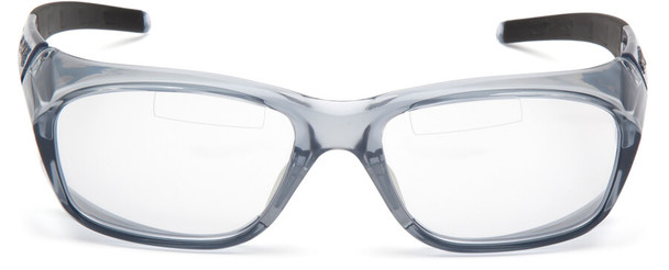 Pyramex Emerge Plus Bifocal Safety Glasses with Translucent Gray Frame and Clear Lens with Top Insert - Front