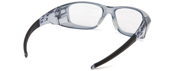 Pyramex Emerge Plus Bifocal Safety Glasses with Translucent Gray Frame and Clear Lens with Top Insert - Back