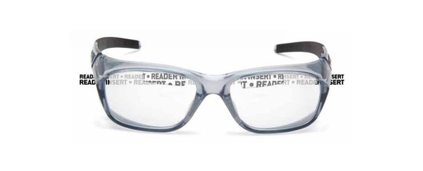Pyramex Emerge Plus Bifocal Safety Glasses with Translucent Gray Frame and Clear Lens with Top Insert - Front Top Insert