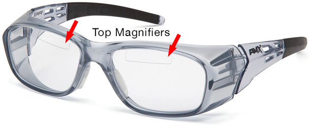 Pyramex Emerge Plus Bifocal Safety Glasses with Translucent Gray Frame and Clear Lens with Top Insert