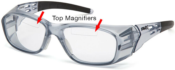 Pyramex Emerge Plus Bifocal Safety Glasses Gray Frame Clear Lens Top Insert Reader
