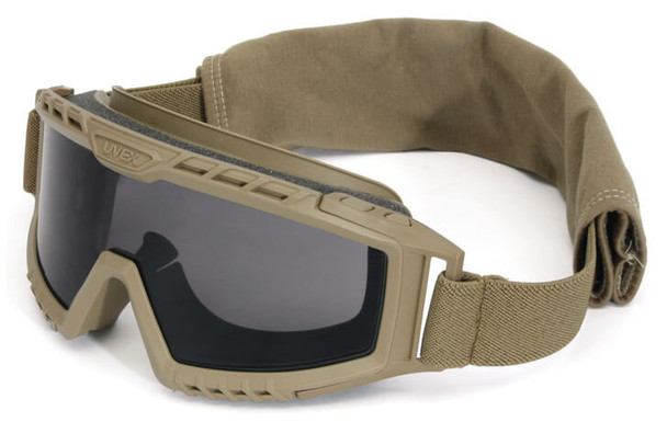 Uvex XMF Tactical Goggle with Tan Frame and Gray DS Lens
