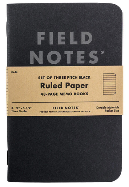 Field Notes Pitch Black Ruled 3-Pack