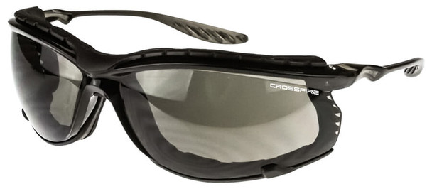 Crossfire 24Seven Safety Glasses with Crystal Black Frame with Foam and Smoke Lens