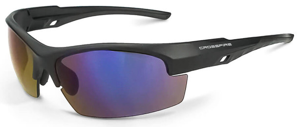 Crossfire Crucible Safety Glasses with Matte Black Frame and Blue Mirror Lens