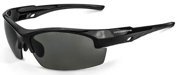 Crossfire Crucible Safety Glasses Shiny Black Frame Smoke Lens 4061