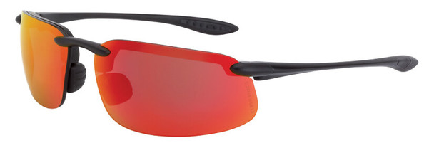 Crossfire ES4 Safety Glasses with Matte Black Frame and HD Red Mirror Lens