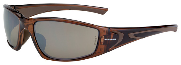 Crossfire RPG Safety Glasses with Crystal Brown Frame and HD Brown Flash Mirror Lens